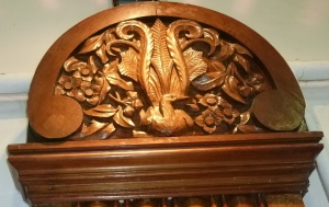 Lyrebird carving - school hall Villers-Bretonneux