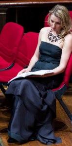 A moment of contemplation - Celeste Lazarenko at the Sydney Town Hall, Verdi Requiem, 2013. (Photographer: Tibor Morvay)
