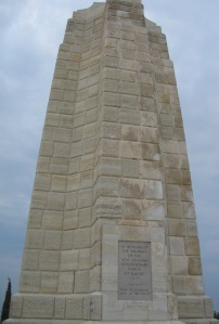 """Memorial at Chunuk Bair to the New Zealand forces. The inscription reads 'In honour of the soldiers of the New Zealand Expeditionary Force 8th August 1915. """"To the uttermost ends of the earth"""".' (Image courtesy R O'Neale)"""