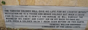Tribute to the Turkish soldiers from General Birdwood,Turkish Cemetery, Gallipoli. (Image courtesy R O'Neale)