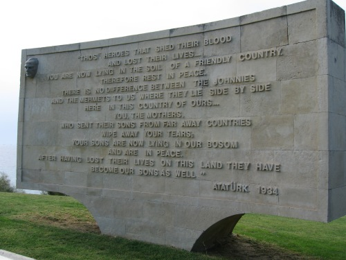 The words of comfort from Mustafa Kemal Atatürk. Gallipoli. Photo - R O'Neale