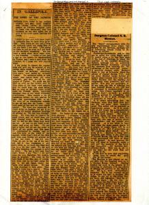 Lisle Lane - Gallipoli - The Orange Leader 1 July 1915