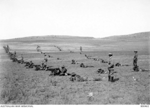 The Machine Gun Squadron of the 2nd Australian Light Horse Brigade at drill