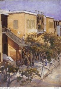 Courtyard 14th AGH Abbassia Image copyright: © Australian War Memorial ART02817