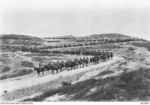 The 9th Australian Light Horse travelling along the winding road over the Judean Hills
