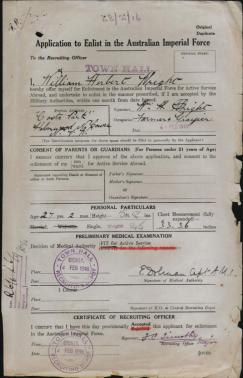 WH Wright application to enlist