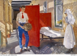 Balcony of troopers' ward, 14th Australian General Hospital, Abbassia. Artist George Lambert