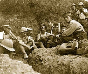 New Zealand soldiers rest in a trench during their assault towards Chunuk Bair on the night of 6 August 1915.