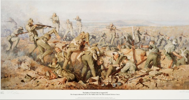 Brown, Ion G (Major), b 1943? Brown, Ion G., b 1943? :The battle of Chunuk Bair, 8 August 1915. The sesquicentennial gift to the nation from the New Zealand Defence Force... / I. G. Brown, Major, Army artist. [Wellington, New Zealand Defence Force?, 1990]. Ref: D-001-035. Alexander Turnbull Library, Wellington, New Zealand. http://natlib.govt.nz/records/22805891