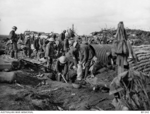 Members of the 13th Field Company of Australian Engineers constructing dugouts near Zonnebeke, in the Ypres Sector