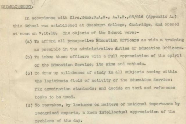 Objectives of the AIF Education Service training school October 1918