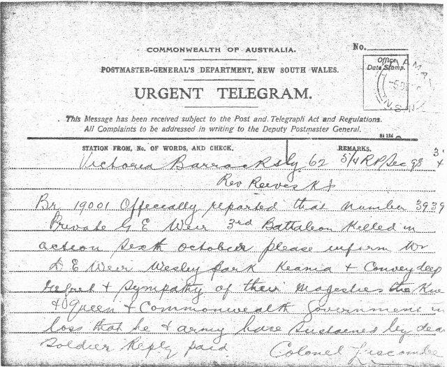 GE Weir - telegram